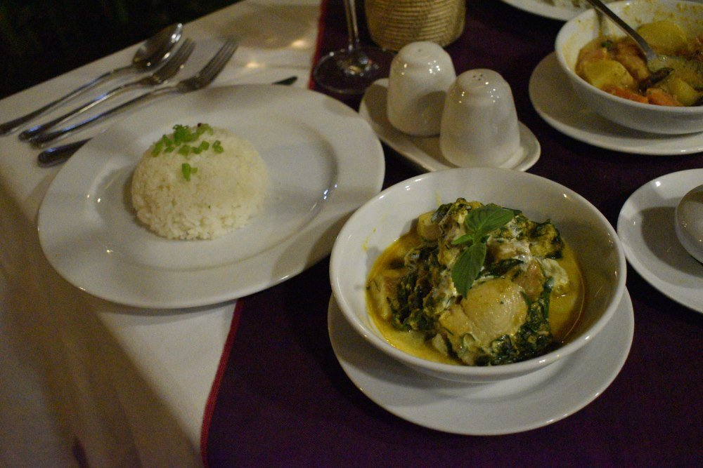 Fish Amok a speciality dish of Cambodia served at PM Angkor Resort