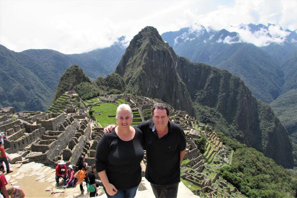 Ros and Alan at Machu Picchu during our roving retirement adventures